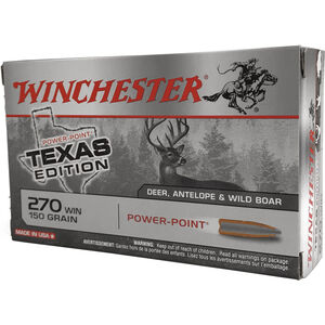 Winchester Super X .270 Win Ammunition 200 Rounds Texas Edition Power Point 150 Grains