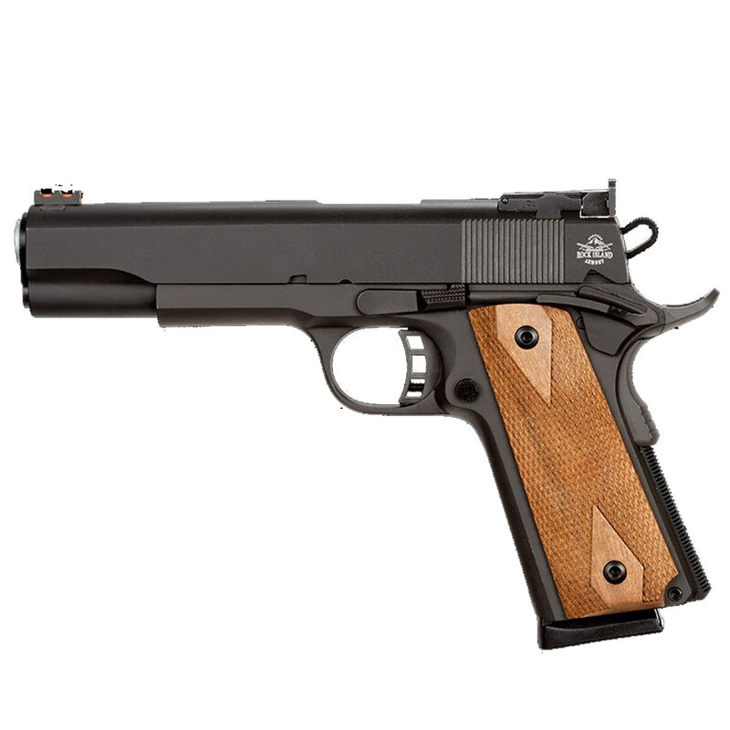 "Rock Island Armory Pro Series Match Ultra Semi Auto Pistol .45 ACP 5"" Barrel 8 Rounds Fiber Front/Adjustable Rear Sights Checkered Wood Grips Parkerized Finish"