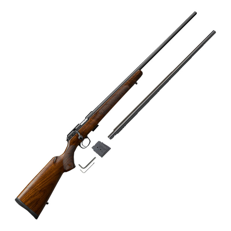 "CZ-USA American Combo 22LR/17 HMR 24.8"" Barrel 5 Round Magazine Turkish Walnut Stock Blued Finish"
