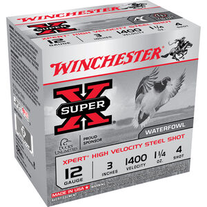 "Ammo 12 Gauge Winchester SuperX Xpert High Velocity 3"" #4 Steel 1-1/4 Ounce 25 Round Box 1400 fps WEX123H4"