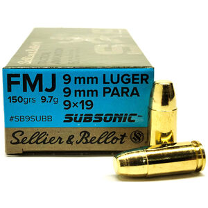 Sellier & Bellot 9mm Subsonic Ammunition 50 Rounds FMJ 150 Grains
