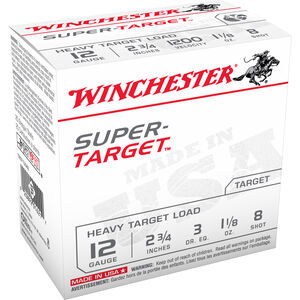 "Winchester Super-Target 12 Gauge Ammunition 25 Rounds 2.75"" #8 Lead 1.125 Ounce TRGT12M8"