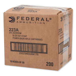 Federal Power-Shok .223 Remington Ammunition 20 Rounds JSP 55 Grains 223A