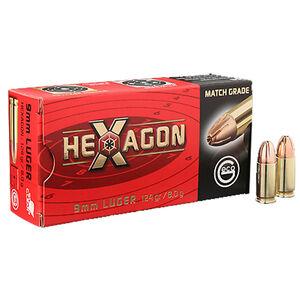 GECO Hexagon 9mm Luger Ammunition 50 Rounds 124 Grain GECO Hexagon Hollow Point 1181fps