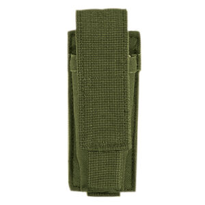 Voodoo Tactical Single Pistol Magazine Pouch Velcro Closure MOLLE Compatible Nylon OD Green