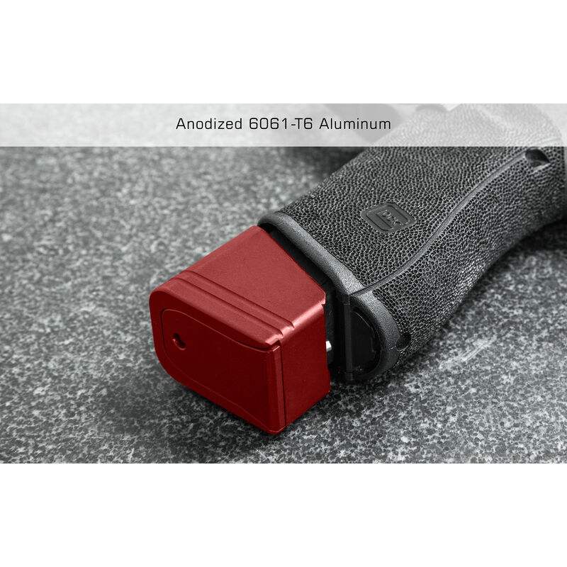 UTG PRO +5 Base Pad for Glock 17/34, Matte Red Aluminum