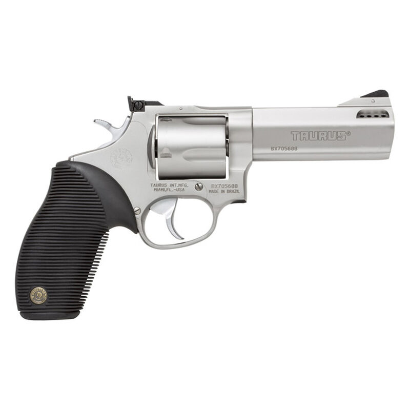 """Taurus Tracker 44 Double Action Revolver .44 Remington Magnum 4"""" Ported Barrel 5 Rounds Fixed Front Sight/Adjustable Rear Sight Ribber Grip Matte Stainless Steel Finish"""