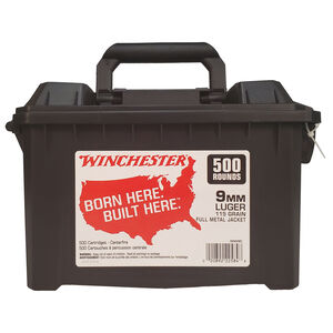 Winchester 9mm Ammunition 115 Grains FMJ in an Ammo Can