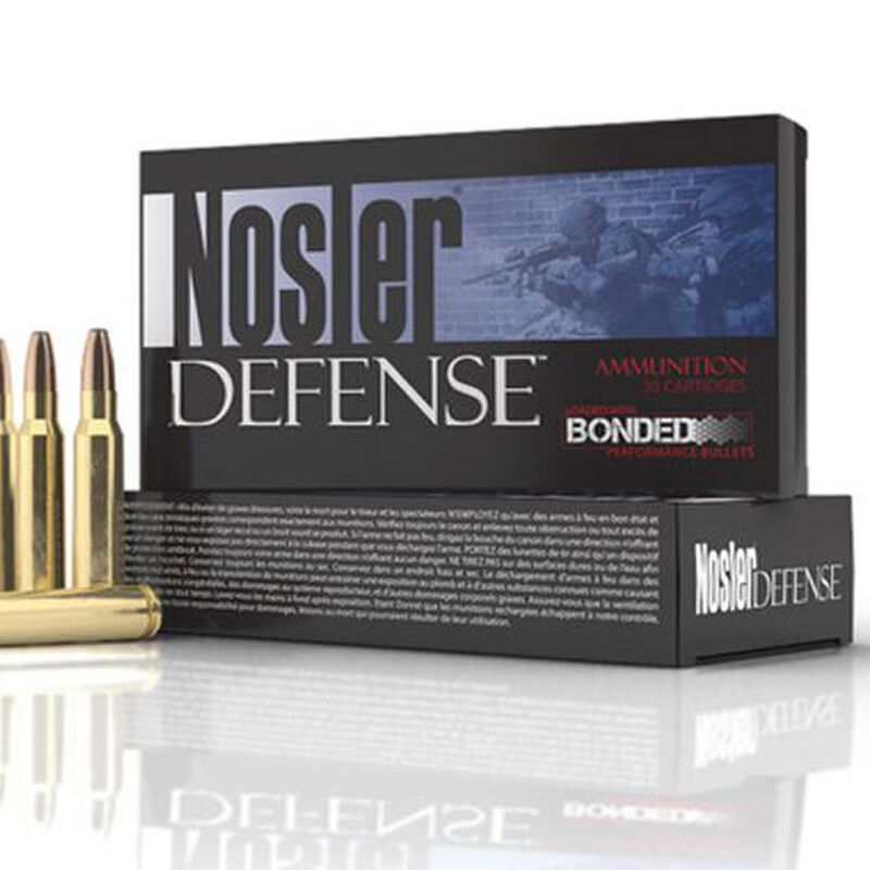 Nosler Defense .223 Rem Ammunition, 20 Rounds, 64 Grain Bonded Performance Bullet, 2750 fps