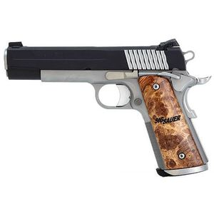 "SIG Sauer 1911 STX Semi Automatic Pistol .45 ACP 5"" Barrel 8 Round Capacity Maple Wood Grips Nitron Finish 1911-45-STX"