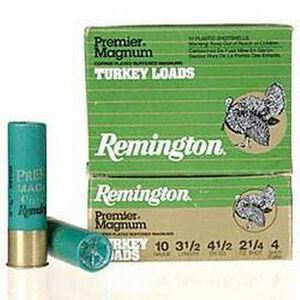 "Remington Turkey 10ga 3-1/2"" #4 Plated 2-1/4oz 10 Rnd Box"