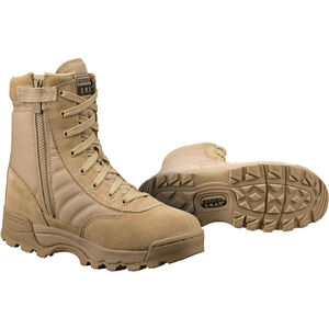 "Original S.W.A.T. Classic 9"" Side Zip Men's Boot Size 8 Regular Non-Marking Sole Leather/Nylon Tan 115202-8"