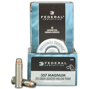 Federal Personal Defense .357 Magnum Ammuniton 20 Round Box JHP 125 Grain 1,440 Feet Per Second
