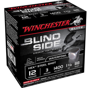 "Winchester Blind Side 12 Gauge Ammunition 3"" BB Hex Steel Shot 1-3/8 oz 1400 fps"