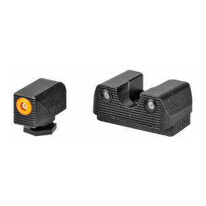 Rival Arms Tritium Handgun Night Sights for GLOCK 17/19 MOS Orange Front Ring CNC Machined Stainless Steel Billet Matte Black Finish