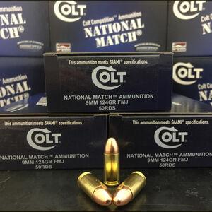 Colt Competition Match 9mm Luger Ammunition 50 Rounds 124 Grain Full Metal Jacket Match 1100fps