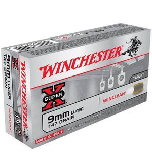 Winchester Winclean 9mm Luger Ammunition Brass Enclosed Base 147 Grains 990 fps