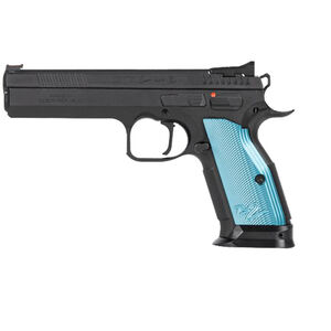 "CZ-USA TS 2 SA 9mm Luger Semi Auto Pistol 5.28"" Barrel 20 Rounds F/O Front Sight Steel Frame Aluminum Blue Grips Matte Black"