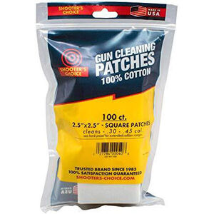 "Shooters Choice Square Cleaning Patches 2.5"" 100 Pack White Cotton"
