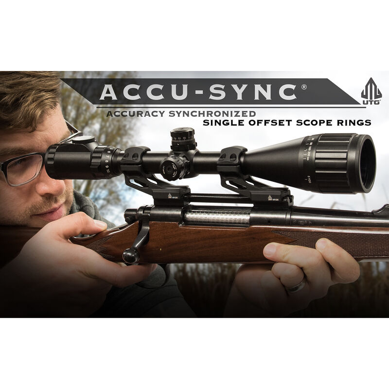 UTG ACCU-SYNC 34mm High Profile 37mm Offset Pic. Rings, FDE