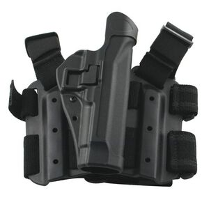BLACKHAWK! SERPA Level 2 Tactical Drop Leg Holster GLOCK 9mm/.40/.357 Full/Compact Polymer Black 430500BK-R