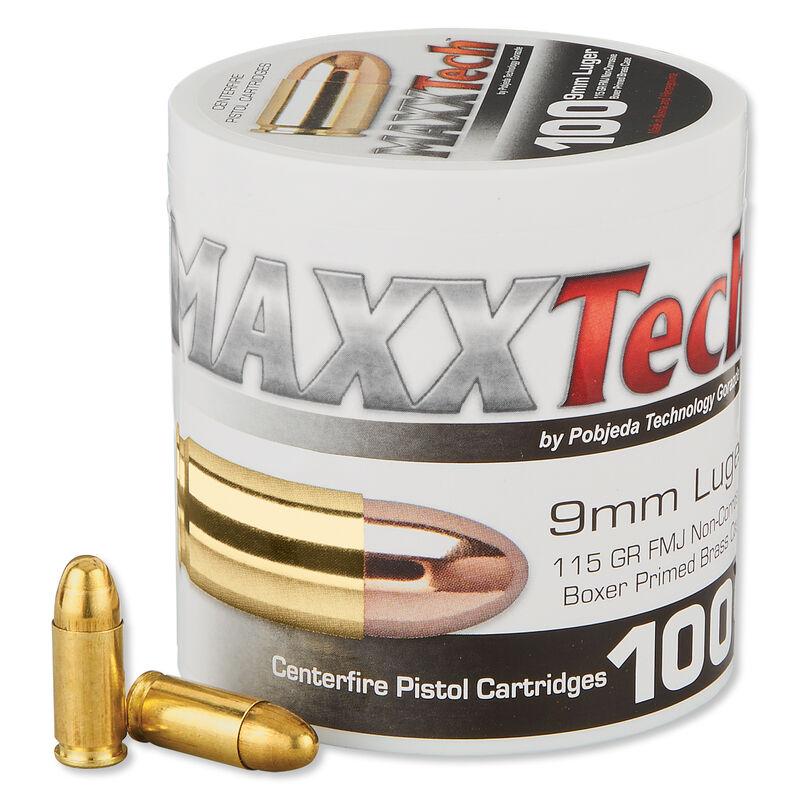 MAXXTech 9mm Luger Ammunition 100 Rounds FMJ 115 Grains PTGB9MM