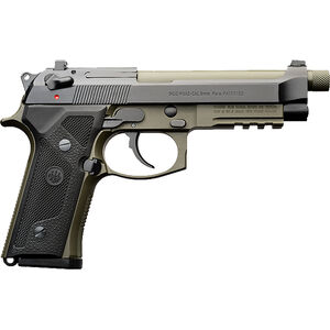 """Beretta M9A3 Type F 9mm Luger SA/DA Semi Auto Pistol 5"""" Threaded Barrel 17 Rounds Night Sights Safety/Decocker Black Slide and Accents with Green Frame and Barrel"""