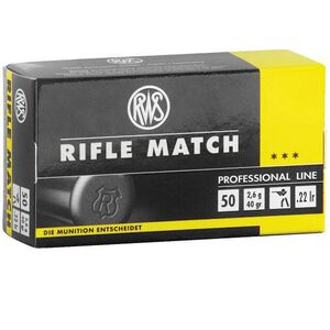 RWS Rifle Match .22 LR Ammunition 40 Grain LRN 1082 fps