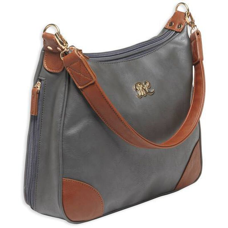 """Bulldog Cases Hobo Style Purse 13""""x10.5""""x3.5"""" Leather Taupe with Tan Trim BDP014"""