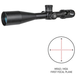 SIG Sauer Tango4 6-24x50 Riflescope Illuminated MRAD Milling Reticle 30mm Tube .10 MRAD Adjustments Side Parallax First Focal Plane CR2032 Battery Black