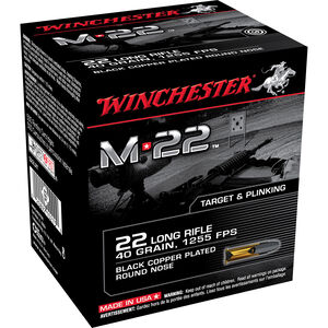 Winchester M-22 .22LR Ammunition 40 Grain Black Copper Plated LRN 1255 fps 500 Rounds