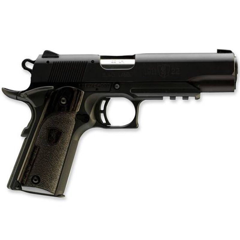 "Browning 1911-22 A1 Black Label Laminate Semi Automatic Handgun .22 LR 4.25"" Barrel 10 Rounds Laminate Stippled Grips Black Polymer Frame and Aluminum Slide Black 051816490"