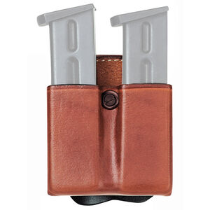 Aker Leather 523 DMS Twin Magazine Pouch Size 03 9mm/.40 S&W Leather Plain Tan A523-TP-3