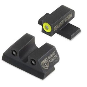 Night Fision Perfect Dot Tritium Night Sight Set SIG Sauer P-Series Pistols with #8 Front/#8 Rear Green Tritium Front/Rear Yellow Front Ring Square Notch Rear with No Ring Metal Body Black Nitride Finish