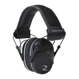 Radians R-Series R-3200 Dual Mic Electronic Earmuff -23dB Noise Reduction Rating 3.5mm Stereo Input Jack Dual Microphones LED Premium Headband Compact Folding Black/Gray Finish