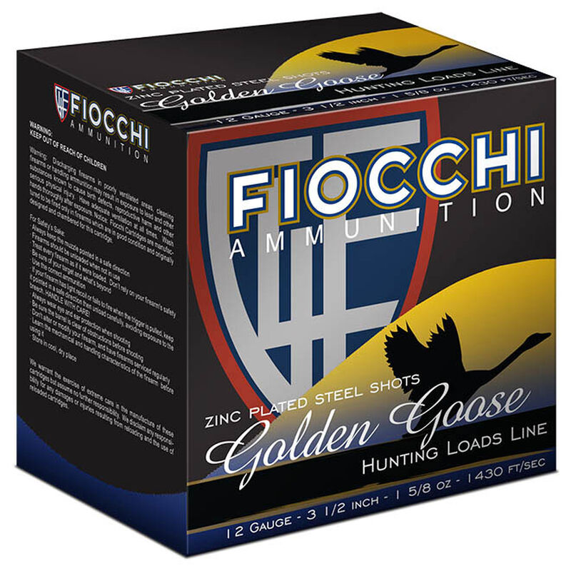 "Fiocchi Waterfowl Steel Hunting Golden Goose 12 Gauge Ammunition 250 Rounds 3-1/2"" T Shot 1-5/8oz Steel 1430fps"