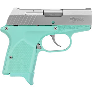 "Remington RM380 Micro .380 ACP Semi Auto Pistol 2.9"" Barrel 6 Rounds Light Blue Grip Panels and Frame with Cerakote Stainless Slide Finish"