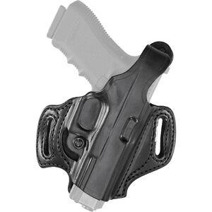 Aker Leather 168 FlatSider Slide XR12 GLOCK 19/23/32 Belt Holster Right Hand Leather Plain Black H168BPRU-GL1923
