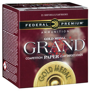 "Federal Gold Medal Grand Paper 12 Gauge Ammunition 25 Rounds 2-3/4"" Shell #8 Shot Size 1 Ounce 1180fps"