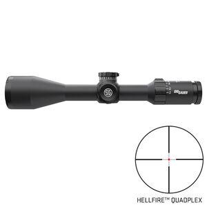 SIG Sauer Whiskey5 5-25x52 Riflescope Illuminated Hellfire QuadPlex Reticle 30mm Tube .25 MOA Adjustment Second Focal Plane CR2032 Battery LR Turret Side Focus LevelPlex Black Finish