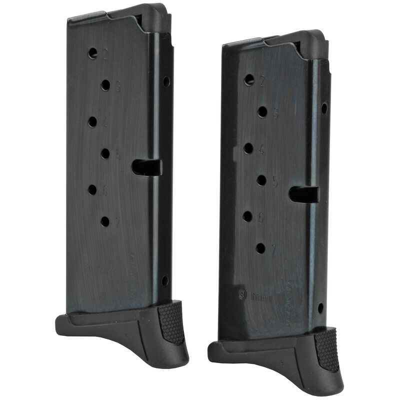 Ruger EC9s/LC9s 7 Round Magazine 9mm Luger Polymer Extended Base Plate Steel Body Blued Finish 2 Pack
