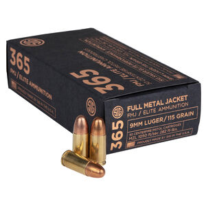 SIG Sauer 365 Elite Performance 9mm Luger Ammunition 50 Rounds FMJ 115 Grains E9MMB1-365-50