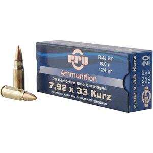 Prvi Partizan PPU Metric 7.9x33 Kurtz Ammunition 20 Rounds 124 Grain FMJBT 2250fps