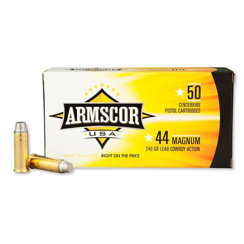 Armscor USA  44 Magnum Ammunition 50 Rounds LSWC 240 Grains F AC 44M-1N
