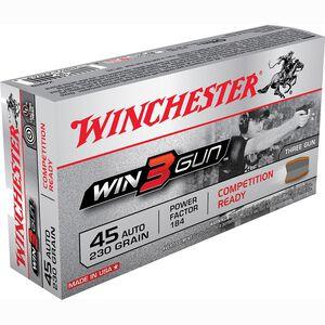 Winchester Win3Gun .45 ACP Ammunition 230 Grain BEB JSP Bullet 800 fps