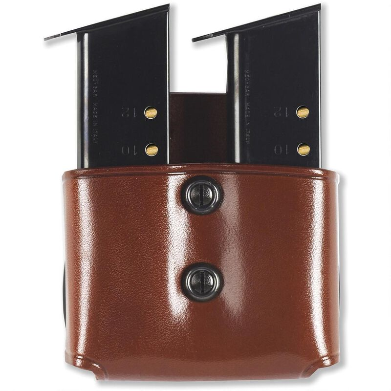 Galco DMP Double Mag Paddle Pouch for Doublestack 9mm 40S&W Magazines, Tan Leather