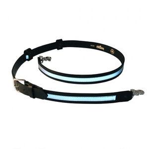 "Boston Leather Firefighter's Radio Strap Reflective Ribbon 50-59"" Long Nickel Hardware Leather Black"