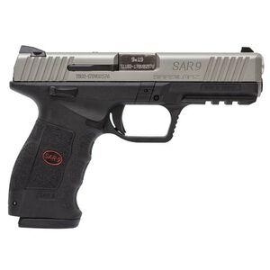 "Sarsilmaz SAR 9 Semi Auto Pistol 9mm Luger 4.4"" Barrel 17 Rounds Fixed Sights Striker Fired Accessory Rail Polymer Frame Black Finish Matte Stainless Steel Slide"