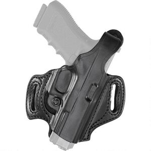 Aker Leather 168 FlatSider XR12 Belt Slide Holster S&W M&P Full Size 9mm/.40 Right Hand Leather Plain Black