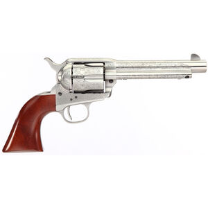 """Taylor's & Co Cattleman Floral Engraved .45 LC Single Action Revolver 5.5"""" Barrel 6 Rounds Walnut Grips White Heat-Treated Finish"""